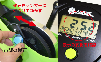 市販の磁石をセンサーに近づけて動かすことで、メーターの表示が変化します